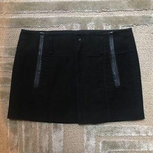 GUCCI - Pleated Leather Trim Miniskirt Black, L